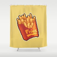 french fries Shower Curtains featuring Pixel Fries by TheSkywaker