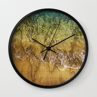 maps Wall Clocks featuring Maps by liberthine01