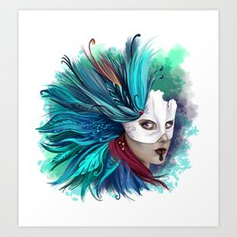 Feathers Mask Art Print