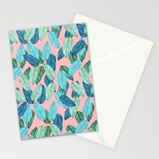 Tropical leaves on Pink Stationery Cards