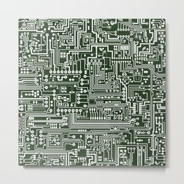 Circuit Board // Green & White Metal Print