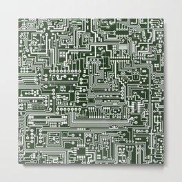 Circuit Board // Green & White Metal Print