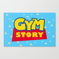 gym Canvas Prints featuring Gym Story by SuperPrints