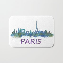 Paris France City Skyline in watercolor HQ Bath Mat