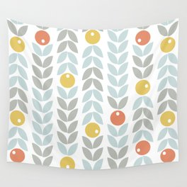Mid Century Modern Retro Leaf and Circle Pattern Wall Tapestry