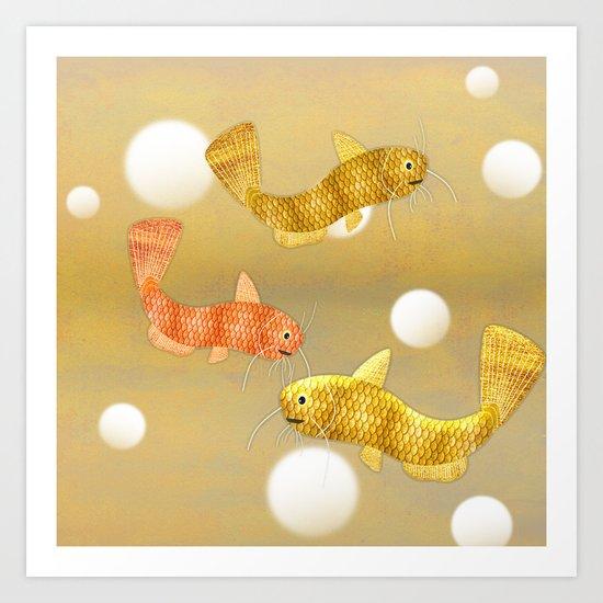 Toy Catfish (Gold) Art Print