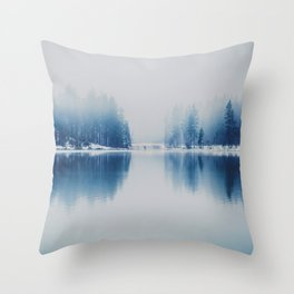 Icy Forest on Water (Color) Throw Pillow