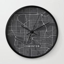 Edmonton Map, Canada - Gray Wall Clock