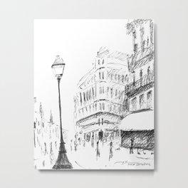 Sketch of a Street in Paris Metal Print