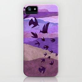 Purple Mountains Birds Take Flight iPhone Case
