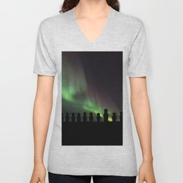 Northern Lights Easter Island Moai Unisex V-Neck