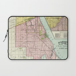 Vintage Map Of The Railroads In Chicago From 1897 Laptop Sleeve