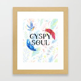 Gypsy Soul - Boho Watercolor Feathers Hippy Heart Framed Art Print