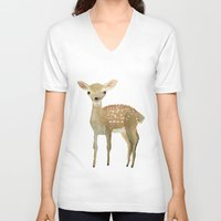 fawn V-neck T-shirts featuring Fawn by Pastelliaa