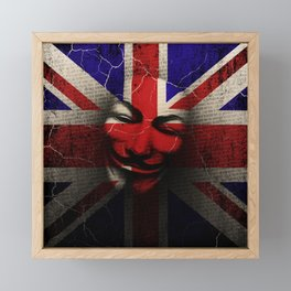 Guy Fawkes Day Union Jack Distressed Flag and Mask Framed Mini Art Print