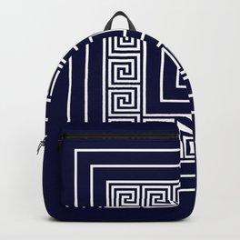 Greek Key Navy Blue Meander Framed Squares Backpack