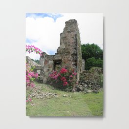 Sugar Mill Ruins with Flowers Metal Print