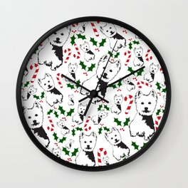 WEST HIGHLAND TERRIER CHRISTMAS GIFTS WRAPPED FOR ALL Wall Clock