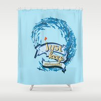 finding nemo Shower Curtains featuring just keep swimming.. finding nemo by studiomarshallarts