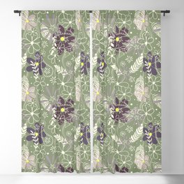 plum purple sage doodle feathers and flowers Blackout Curtain