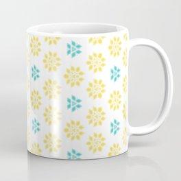 Spring Yellow Blue Flower Pattern Kaffeebecher