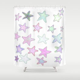 Funky Pastel Stars! Shower Curtain
