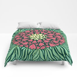 Pink and green florals Comforters