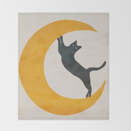 Moon and Cat Throw Blanket