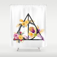deathly hallows Shower Curtains featuring Life and Deathly Hallows by Snazzy Sisters
