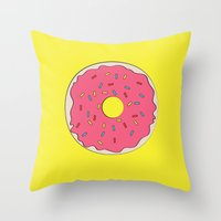 donut Throw Pillows featuring Donut by ANNIKA THORN