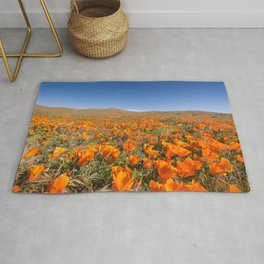 Blooming poppies in Antelope Valley Poppy Reserve Rug