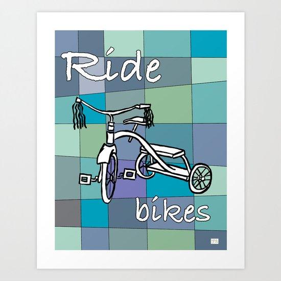 Ride Bikes on Retro Mid Century Blue Palette Background Art Print