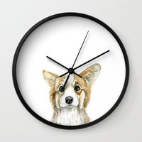corgi Wall Clocks featuring Corgi by Leanne Engel