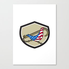 Towing J Hook Flag Draped Shield Retro Canvas Print