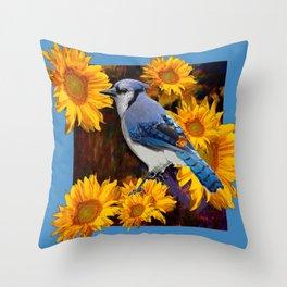 BLUE JAY YELLOW SUNFLOWERS ART Throw Pillow