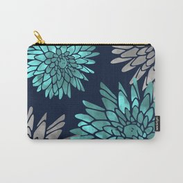 Floral Chrysanthemum Modern Navy Aqua Carry-All Pouch