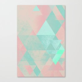 Pink and Mint Geometric Composition  Canvas Print