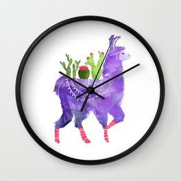 No Prob-Llama - Purple Llama and Cacti Wall Clock