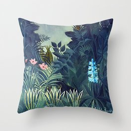 The Equatorial Jungle with Lions by Henry Rousseau Throw Pillow
