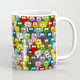 colorful crowd of owls Coffee Mug