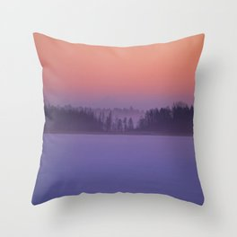 Foggy Winter Evening With Beautiful Sunset Colors In The Sky #decor #buyart #society6 Throw Pillow