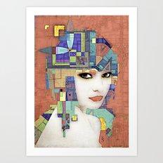 Nouveau Girl 2 (aged finish) Art Print