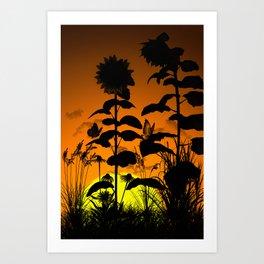 Sunflower in sunset Art Print