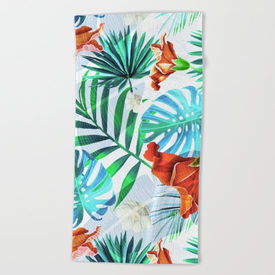 Tropical fiesta - sunset Beach Towel