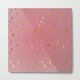 Passion Pink Golden Stars Metal Print
