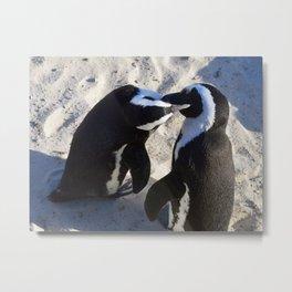 Penguin Smooches Metal Print