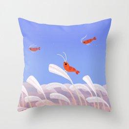 Flying cherry shrimp Throw Pillow