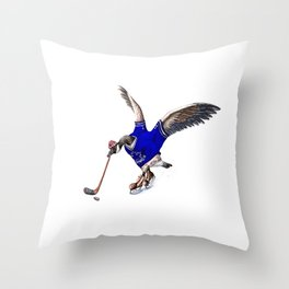 Canada Goose Playing Hockey Throw Pillow