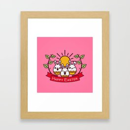 Happy Easter Happy Bunnies Framed Art Print