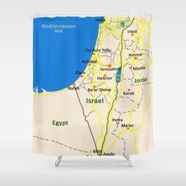 Israel Map design Shower Curtain